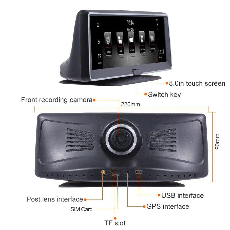 E ACE 4G Android Auto Dvr 8 Inch Fhd 1080P Auto Camera Video Recorder Dual Lens Dvr Gps Navigatie adas Remote Monitor Dash Cam - 5