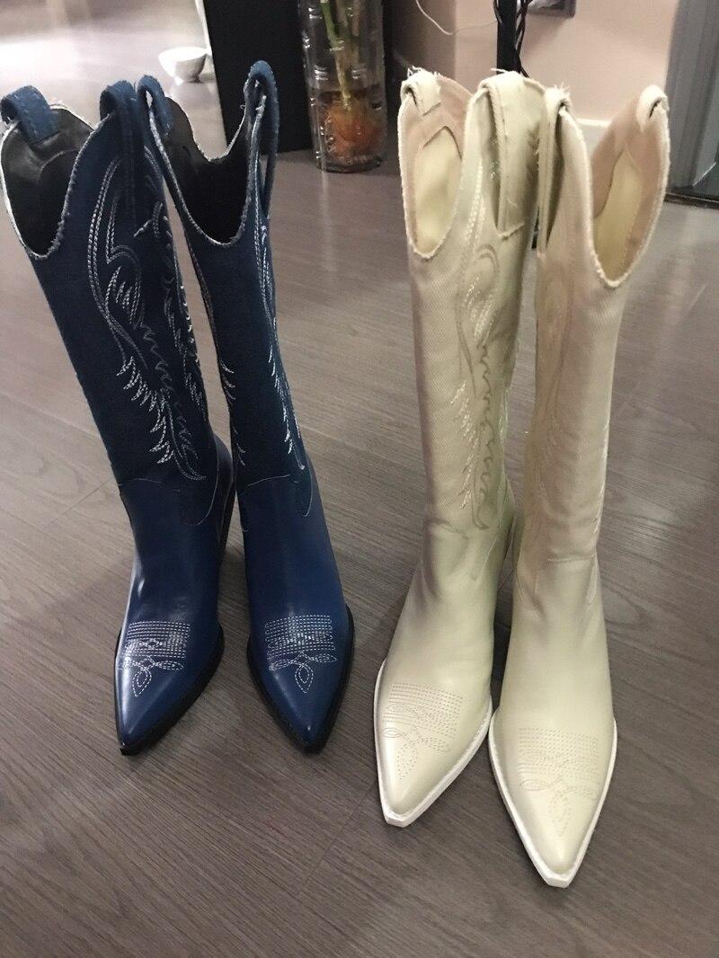 Großhandel MStacchi 2019 Cowboystiefel Für Frauen Spitz Spitze Gestickte Blume Seltsame Ferse Stiefel Dame Retro Runway Knie Hoch Von Grapeen, $135.64