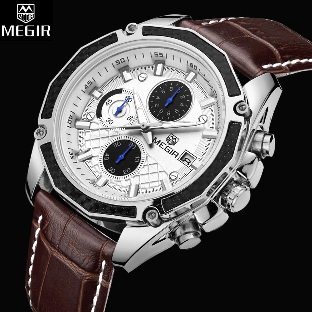 Fashion Style MEGIR Mens Watches Top Brand Luxury Leather Quartz-watch Chronograph Luminous Sport Men Wrist Watch reloj hombre цена и фото