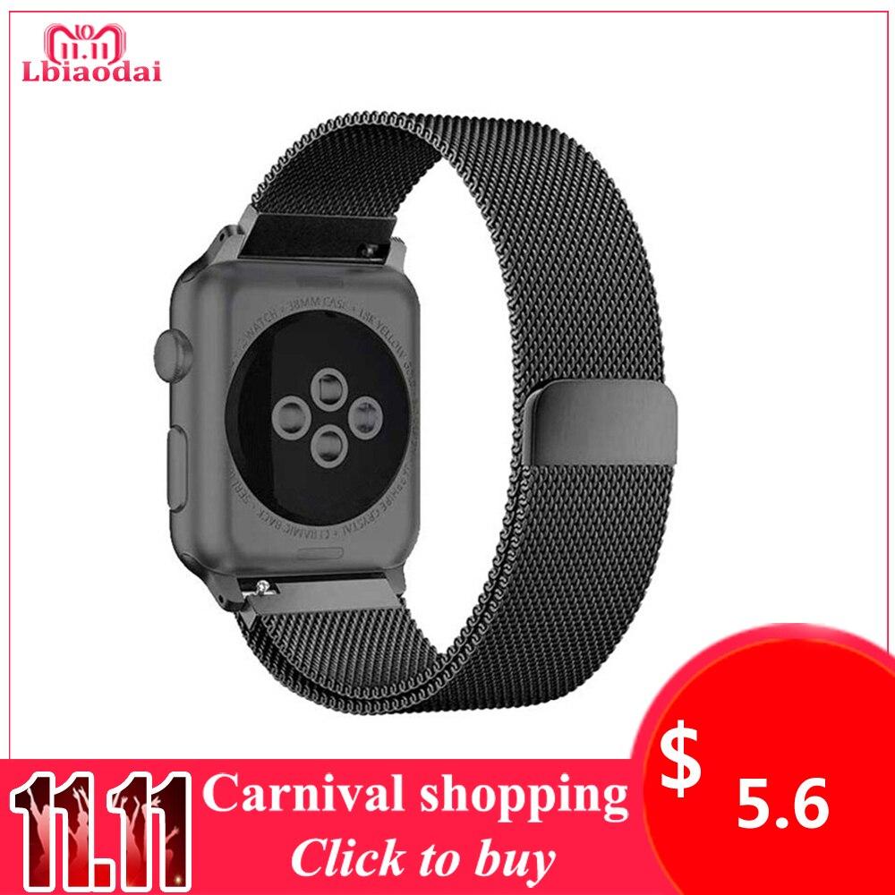 Lxsmart для Apple Watch Series 1/2/3 браслет из нержавеющей стали 42 мм Милан петли наручный ремень 38 мм группа магнитная планка iwatch полосы