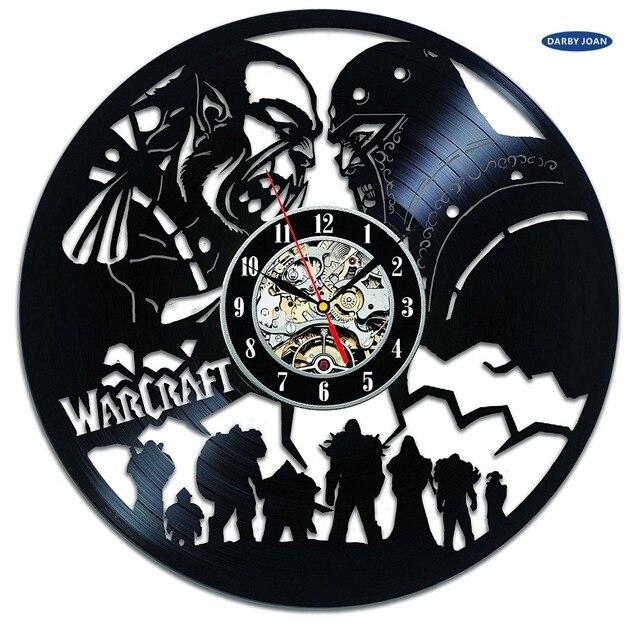 World of Warcraft WOW Gift Vinyl Wall Clock Vintage Decor Demon Illidan Figure,wall clock  saat alarm clock reloj large 4