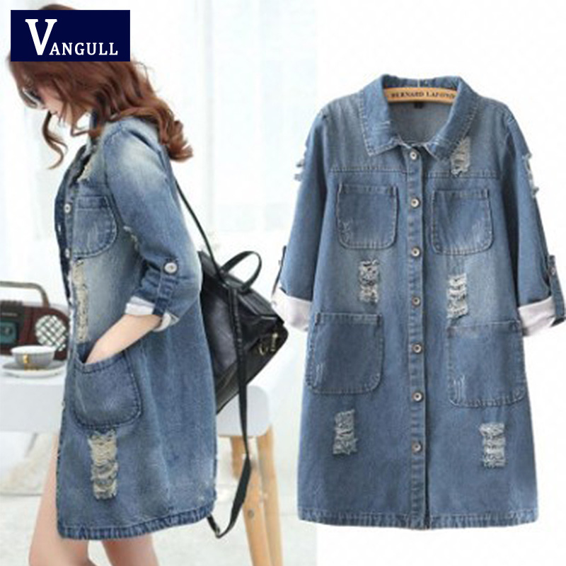 Vangull Big Size 4XL 5XL Women Denim Jacket Long Jeans Jacket   Coat   Casual Frayed Female Basic Jackets Outwear 2019 New Plus Size