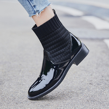 купить Women Ankle Boots Leather Cow Leather+Flying Woven Wool Short Boots 22-25cm Length Autumn and Winter Boots Women Fashion Shoes дешево