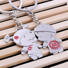 New Arrival 1 Pair/Set Women Couple Key Ring Cartoon Lover Keychain Fashion Valentines Gift 9 Style