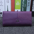 Genuine Leather Wallets Women Hasp Solid Color Long Purse Female Clutch Wallets Credit Card Holder Phone Money Bags Famous Brand