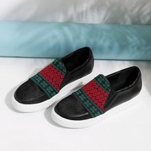 Women's Genuine Leather Horsehair Embroidered Slip-on Moccasins Brand Designer Flats Loafers Comfort Leisure Espadrilles Shoes
