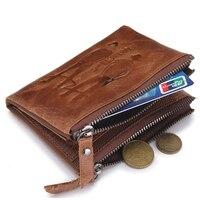 New Retro Male Printing 3 Zipper Bag Purses Genuine Crazy Horse Cowhide Leather Men Wallets Short Coin Purse Vintage Wallet