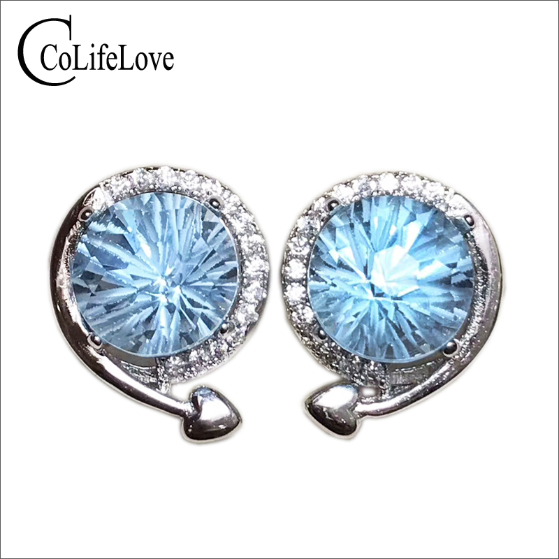Brilliant light blue topaz earring 8 mm *8 mm natural VVS topaz stud earrings solid 925 sterling silver topaz earrings for party
