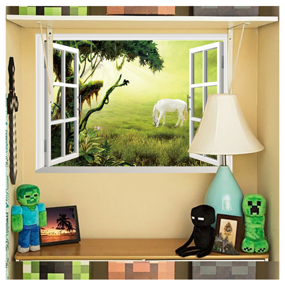 Kuke 3d Fake Window Grassland White Horse Style View Decal Home ...