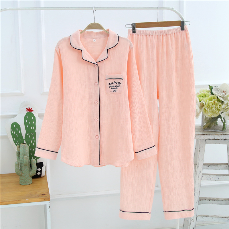 2019 New Pajamas For Women Casual Home Clothes 100% Cotton Pure Color Long Sleeve Pyjama Femme Homewear Blue White Pink