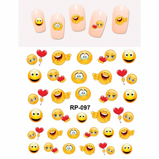 NAIL ART BEAUTY NAIL STICKER WATER DECAL SLIDER CARTOON SMILING FUNNY FACES COOKIES DOLLS RP097-102