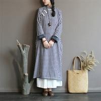 Ethnic Plaid Fleece Dress for Women 2018 Winter Long Sleeve Chinese Cotton Linen Cheongsam Qipao Down Maxi Dress Robe Vestidos