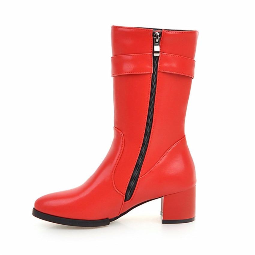 Spring Autumn Winter Women Square Low Med High Heels Mid Calf Boots Woman Short Boots Shoes botas botte Plus Size 34-40.41.42.43