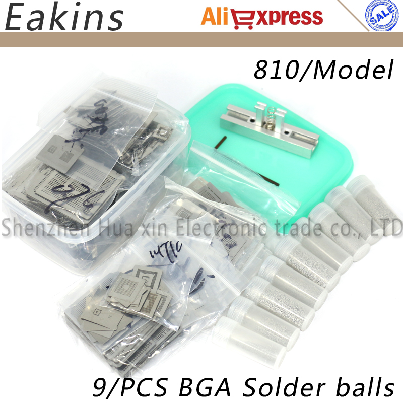 Nouvelle Mise À Niveau 810/modèle Pochoir BGA Bga Reballing Pochoir Kit avec chauffage direct station De Rebillage Remplacer + 9/ PIÈCES DE Soudure BGA boules