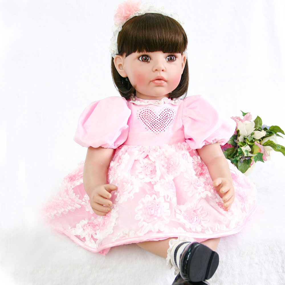 Adorable princess girl doll reborn 60cm vinyl silicone reborn baby dolls toys for children gift toddler baby alive Bebes rebornAdorable princess girl doll reborn 60cm vinyl silicone reborn baby dolls toys for children gift toddler baby alive Bebes reborn