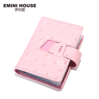 EMINI HOUSE Brand Fashion Ostrich Pattern Genuine Leather Business Id Card Holders Women Credit Card Holder