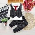 Roupas de bebê Menino Cavalheiro Terno Roupas Meninos Da Criança Set de Manga Comprida + planos Crianças Boy Vestuário Set meninos roupas de Aniversário listrado