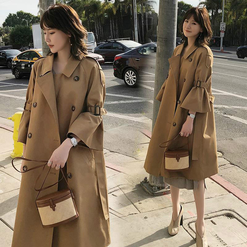 2019 Spring New Fashion Casuanl Three Quarter Horn Sleeve Double Breasted Ladies Long Windbreaker Autumn   Trench   Coats for Women
