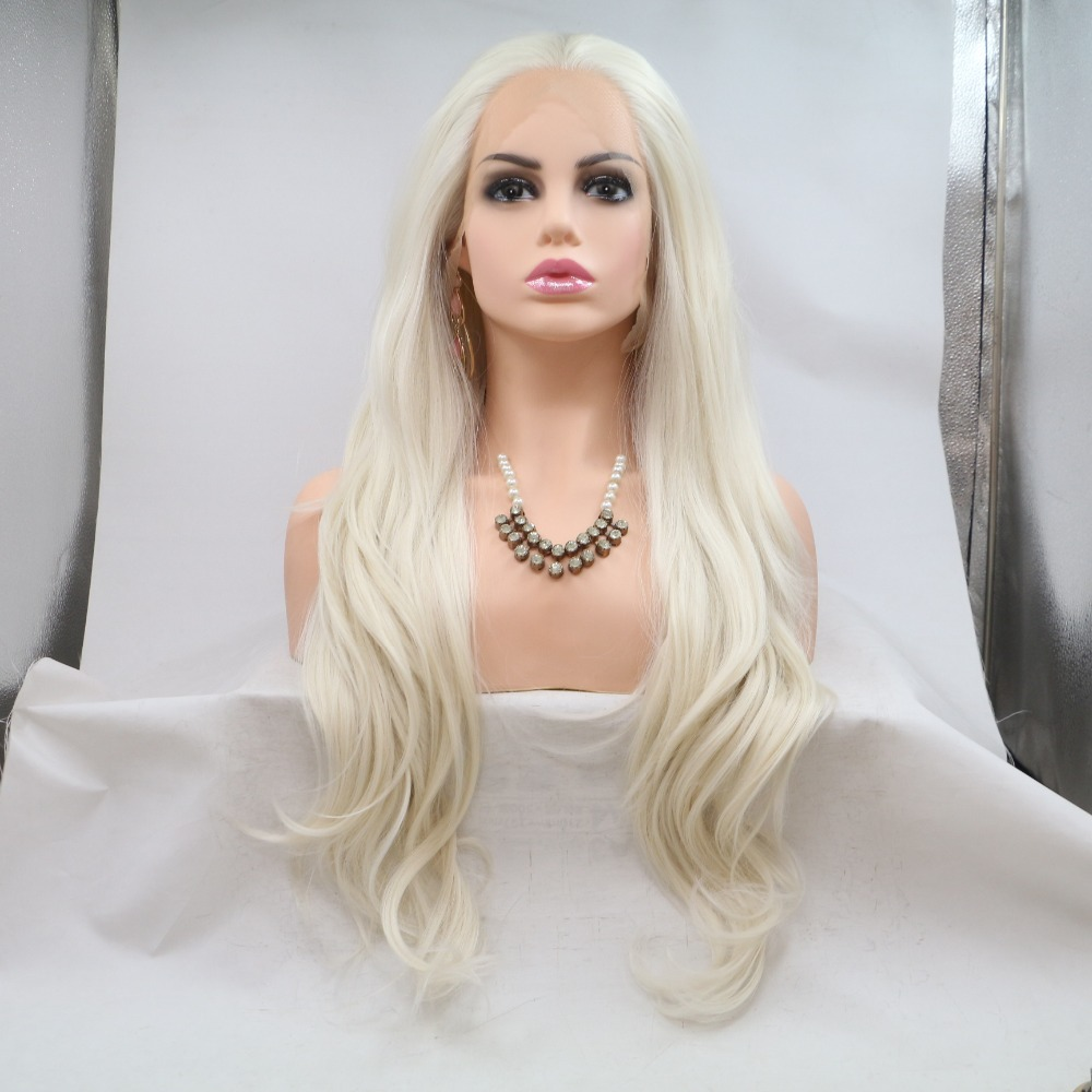 Fantasy Beauty natural look light blonde Long wave wig with parting glueless synthetic lace front wigs