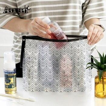 AEQUEEN Women Cosmetic Organizer PVC Make Up Bag Transparent Toiletry Bag Clear Makeup Box Necessaries Travel Pouch Beauty Cases алиэкспресс сумка прозрачная