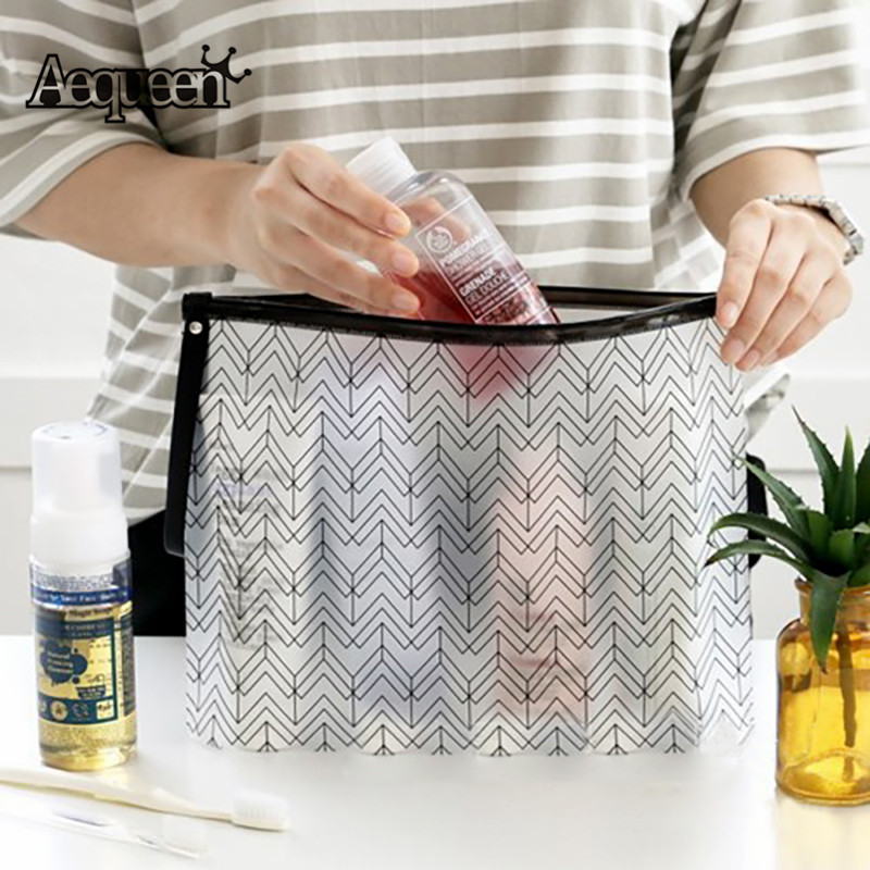 AEQUEEN Women Cosmetic Organizer PVC Make Up Bag Transparent Toiletry Bag Clear Makeup Box Necessaries Travel Pouch Beauty Cases custom transparent clear pvc make up tote bag with double handles