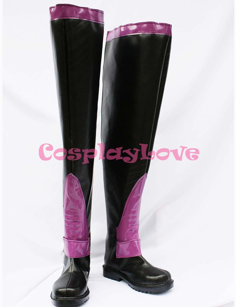 Newest Custom Made Japanese Anime Fate Stay Night Rider Black & Purple Long Cosplay Boots Shoes For Christmas Halloween Party