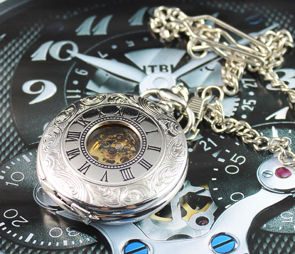 Personalised Half Hunter Silver Skeleton Pocket Roman Mechanial Pocket Vegan Watch Freeship