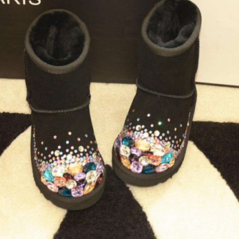 a622947af5e42 Livraison Gratuite Main Strass coloré de cristal fille enfants bling bling  de mode de Neige Bottes enfants Bottes D hiver au chaud Chaussures