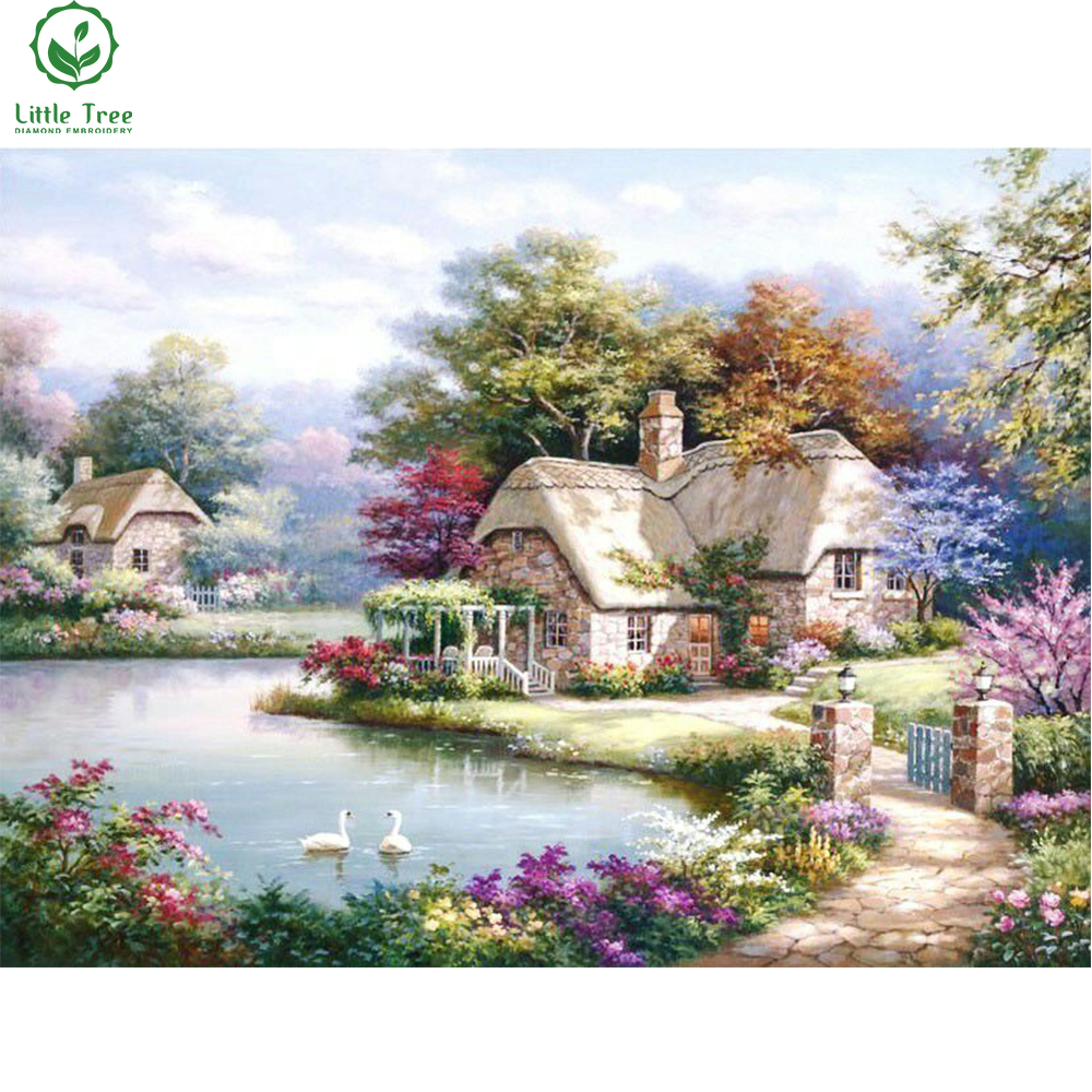 Home sweet home painting - 3d Full Bright Diamond Painting Sweet Home Cottage Mosaic Pattern Diamond Embroidery Spring Scenery Diy Rhinestones