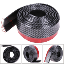 New Carbon fiber soft Rubber Black bumper Strip Car 6cm Width 2.5m length Exterior Front Bumper car-styling