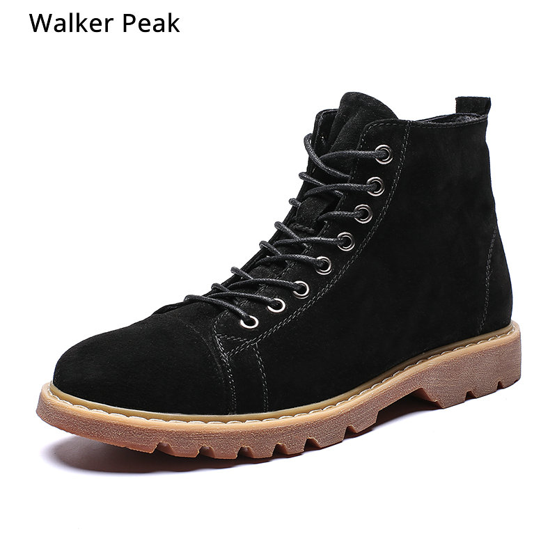 Big Size 38-48 New Men Leather Boots Fashion Autumn Winter Top Brand Ankle Boots Lace Up Mens Shoes Footwear Casual 2019 Black