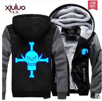 One Piece Luffy Trafalgar Coat Luminous Thick Jacket Men Women Zipper Hoodie