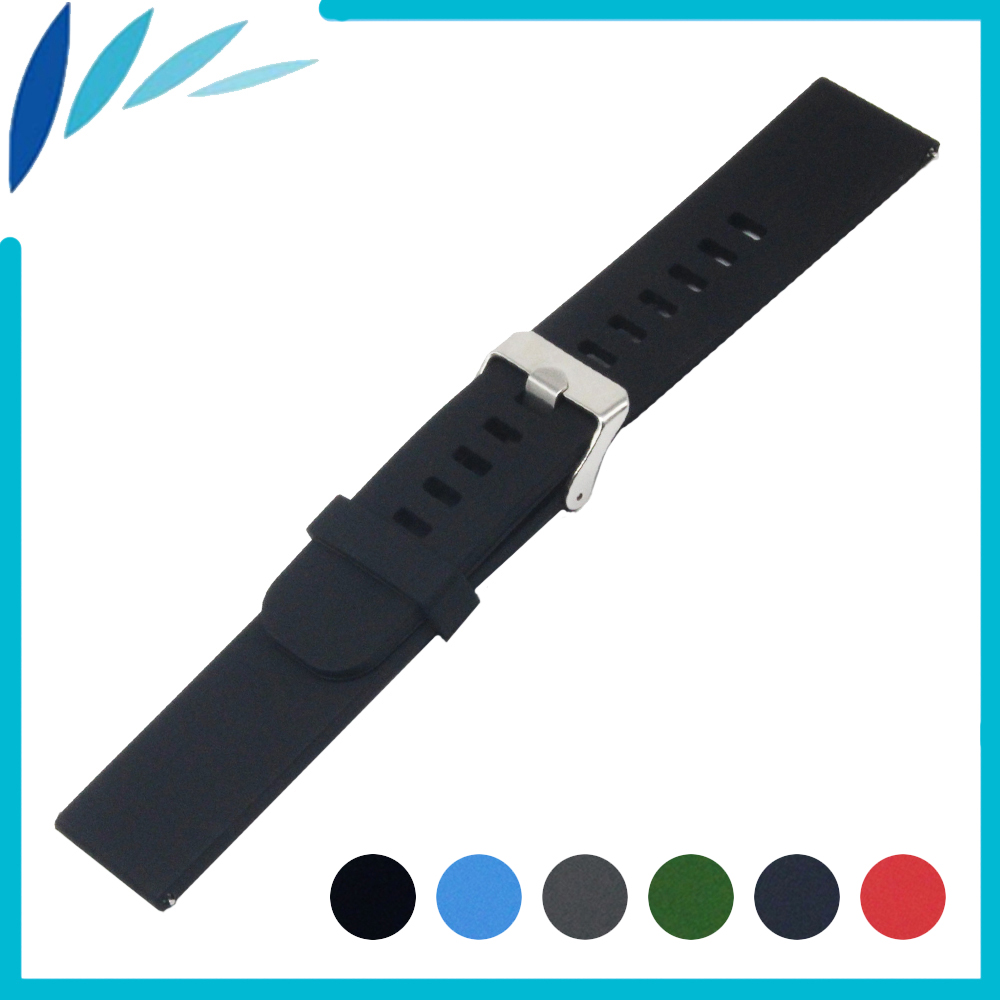 Silicone Rubber Watch Band 18mm for Huawei Watch / Fit Honor S1 Stainless Steel Pin Clasp Strap Quick Release Loop Belt Bracelet