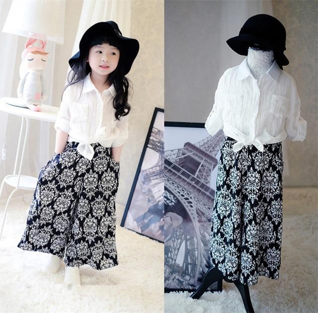 e74838dc1f Moda meninas conjunto de roupas camisa blusa branca   ampla perna longa  calças de terno 2