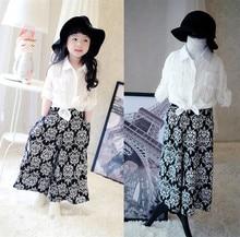 fashion girls clothing set white blouse shirt & wide leg long pants suit 2 pcs clothes set for children and kids spring clothes
