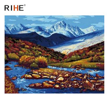 RIHE Stone Stream Diy Painting By Numbers Abstract Mountain Oil Painting On Canvas Cuadros Decoracion Acrylic Wall Art Picture rihe amused expression diy painting by numbers abstract cute cat oil painting on canvas cuadros decoracion acrylic wall art