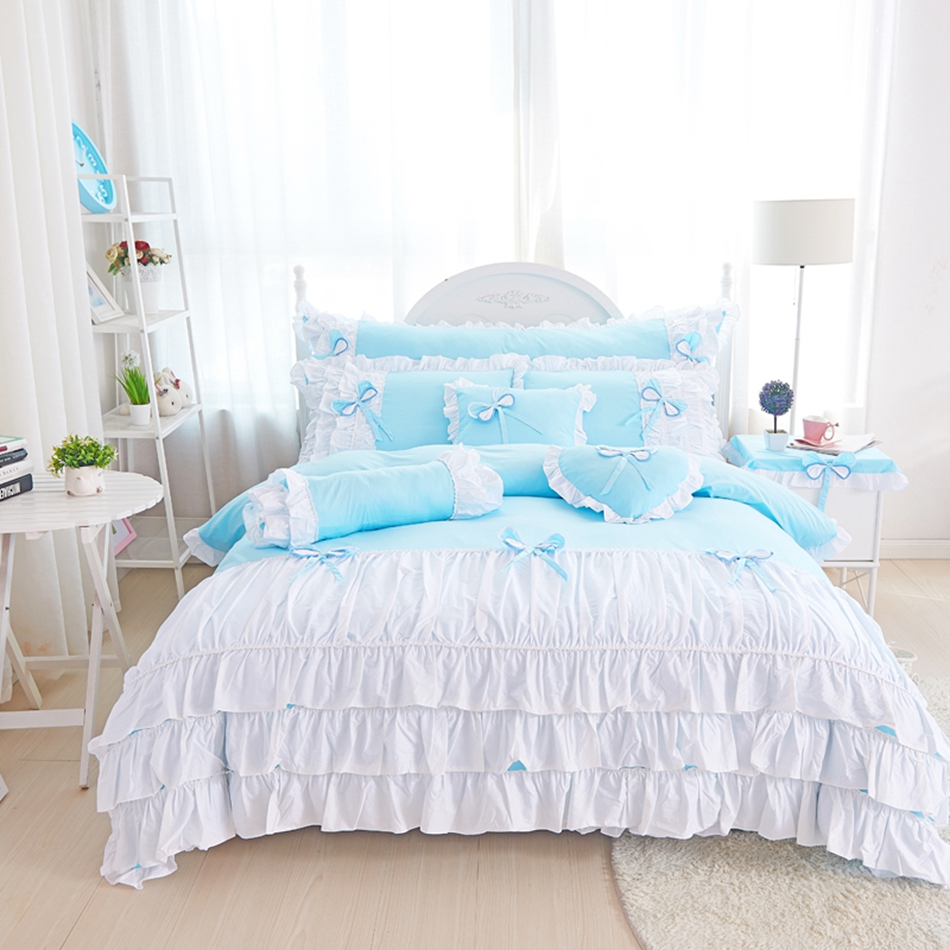 Blue and white bedding - 3 4pcs Cotton Duvet Cover Bed Skirt Pillowcases Bed Linen Lace Edge Solid Blue White Princess Bedding Set Patchwork Handmade