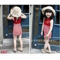 Ocasional do Algodão do verão roupas Da Menina das Crianças vestido de Lapela Franja Marinha/Vermelho Sem Mangas vestidos infantis Frete grátis