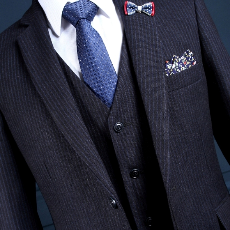 NA17 Custom One Button Navy Blue with Silver Stripes Mans Formal Parties Wear Ternos Mens Tuxedos (Coat+Pants+Vest) Suit Design