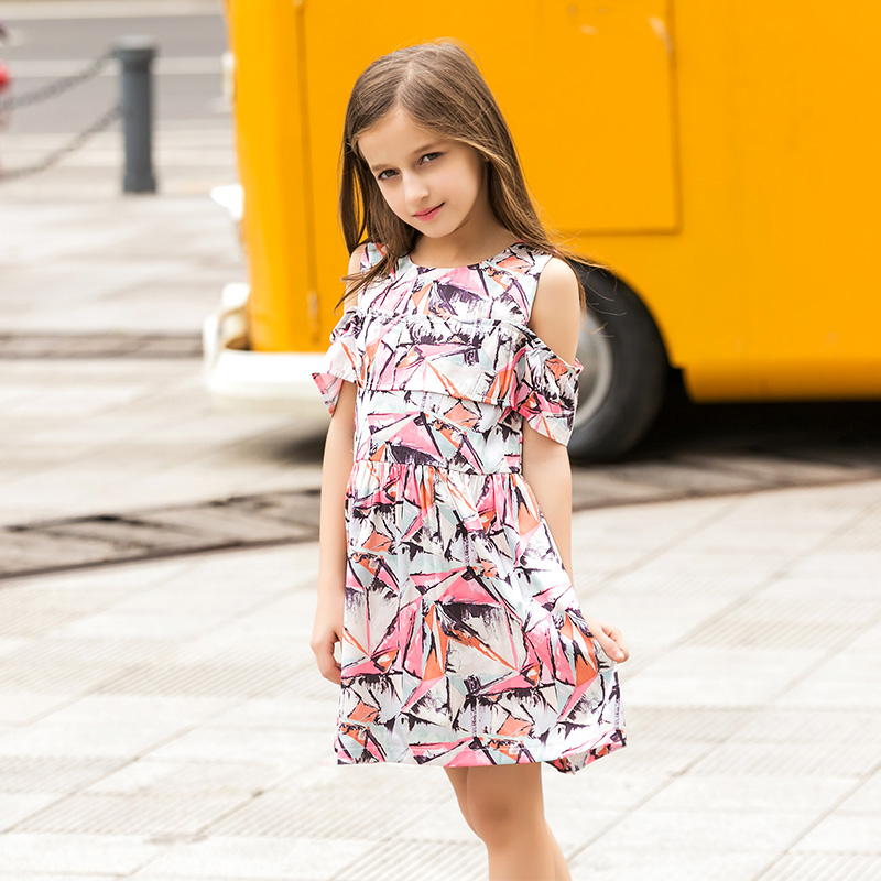 Teen Girls Dresses Chiffon Floral Print Summer Kids Dress Fashion Proms for Girls Age 5 67 8 9 10 11 12 13 14T Years Old