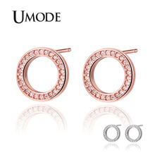 UMODE 2019 New Clear Round Zircon Hollow O Shape Stud Earring for Women White&Rose Gold CZ Crystal Polished Jewelry AUE0531
