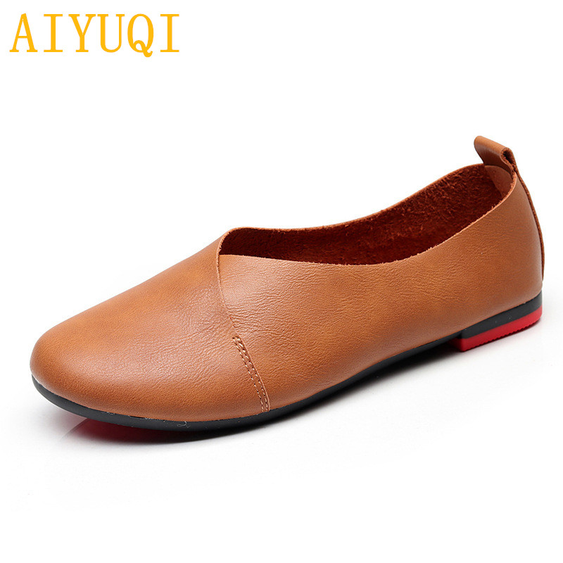 AIYUQI Women's flat shoes 2019  genuine leather female peas shoes, large size 35-43 casual soft bottom mother single shoes  K20(China)