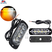 Popular caution light bar buy cheap caution light bar lots from keyecu 2 pieces 12v whiteamber 4 led waterproof emergency beacon flash caution light surface mount strobe light bar 19 patterns aloadofball Image collections
