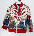 2016 Primavera/Outono Marca jaqueta meninas 1 pc meninas roupas vermelhas impresso casaco para as meninas com mangas compridas zipper meninas outwear
