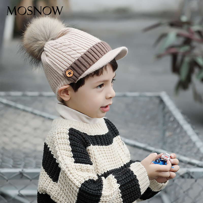 Cap Hat Visors Bonnet Fur Pompom Skullies Knitted Girl Winter Fashion Brand-New for Boy