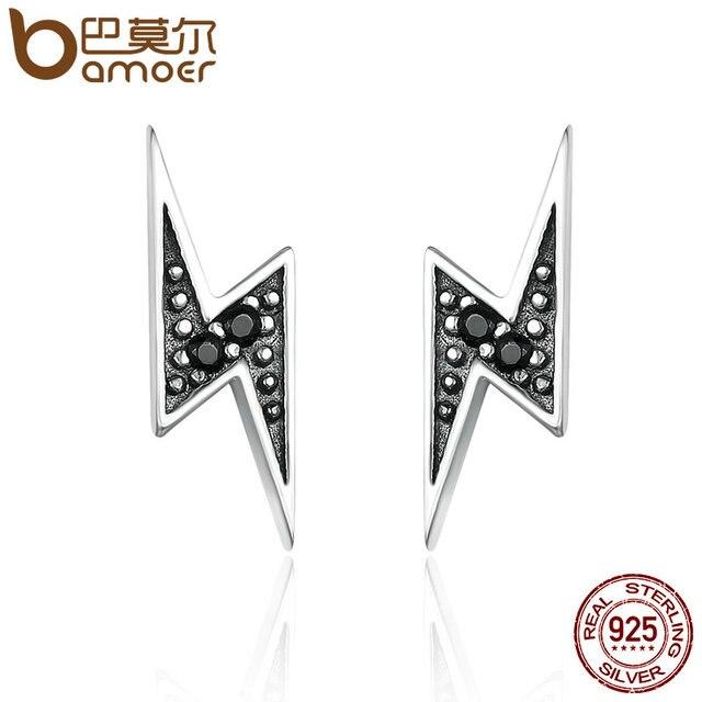 925 Sterling Silver Exquisite Lightning & Black Stud Earrings for Women