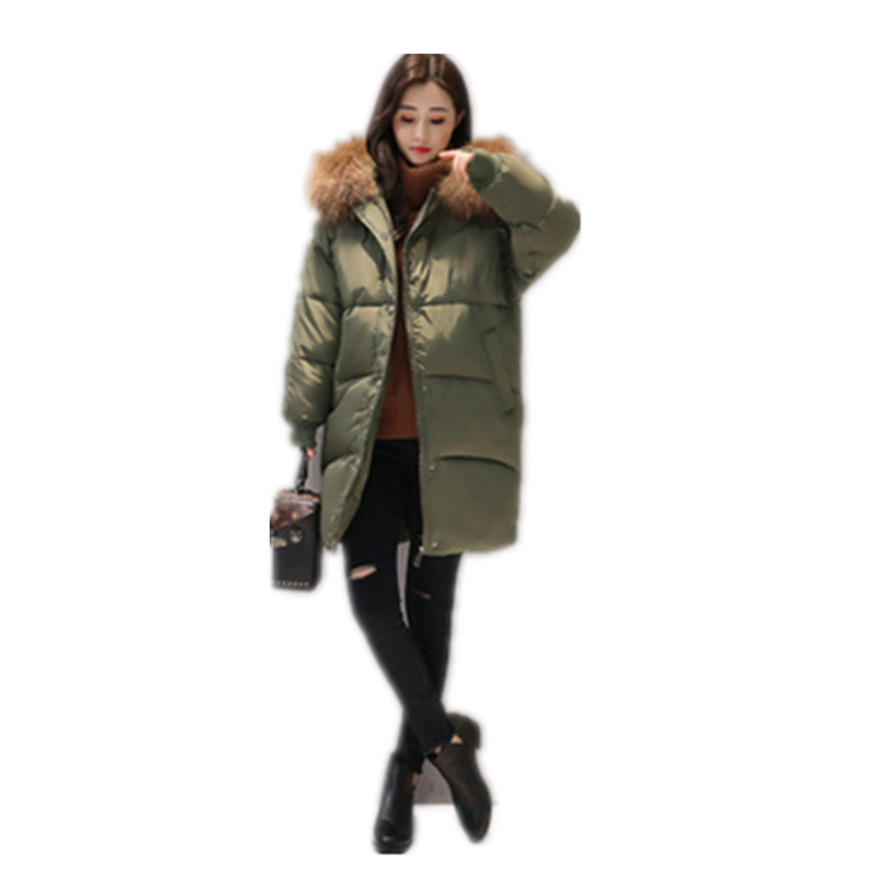 New 2017 Large Fur Collar Hooded Warm Long Parka Thick Winter Coat font b Jacket b