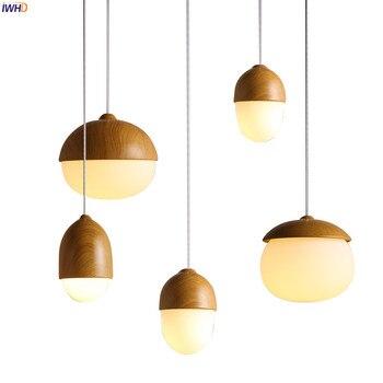 цена IWHD Nordic Modern LED Pendant Lights Fixtures Dinning Living Room Light Wood Color Glass Ball Pendant Lamp Luminaire Lighting онлайн в 2017 году