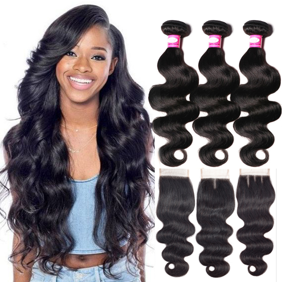 Beauty Lueen Body Wave Human Hair Bundles Med Lukning Brazilian Hair - Menneskehår (sort)