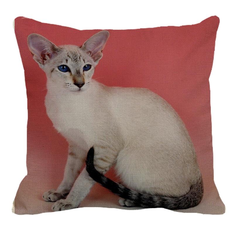 Siamese Cat Linen Decorative Pillow Case